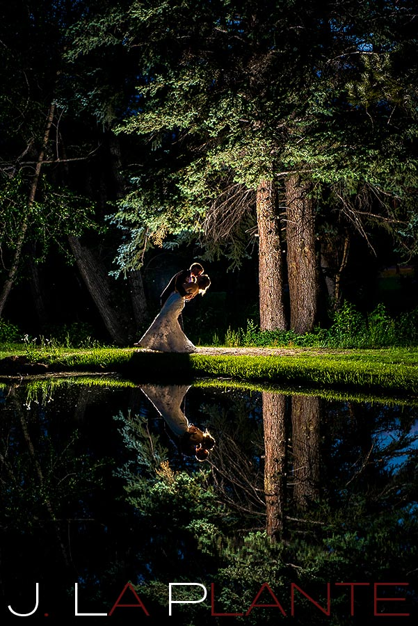 J. La Plante Photo | Boulder Wedding Photography | Estes Park Wedding | Bride and groom by lake at night