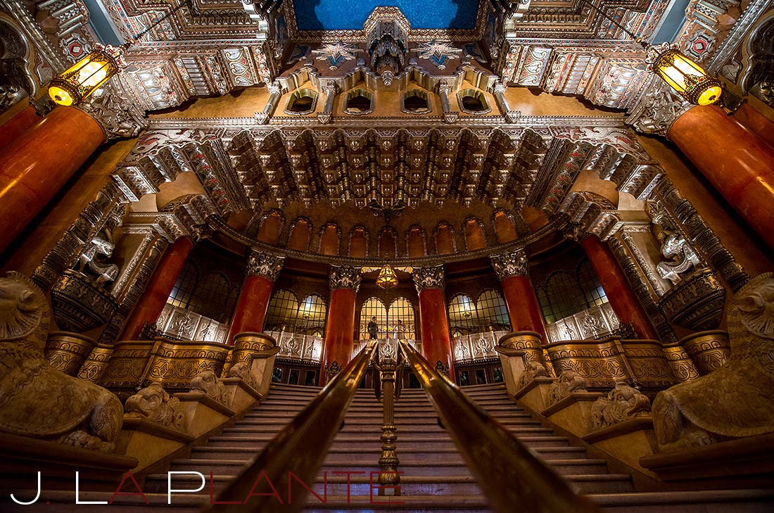 J. La Plante Photo | Destination Wedding Photography | Fox Theatre Detroit Wedding | Bride and groom in grand entrance