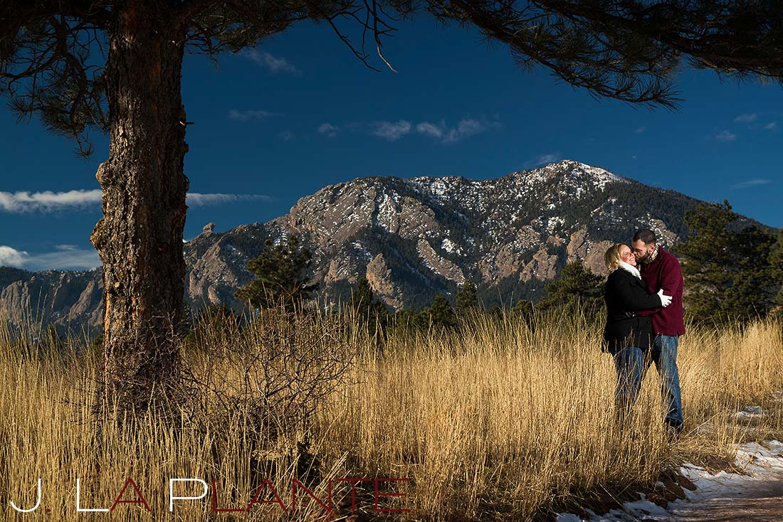 Flatiron engagement | Boulder winter engagement photos | J. La Plante Photo