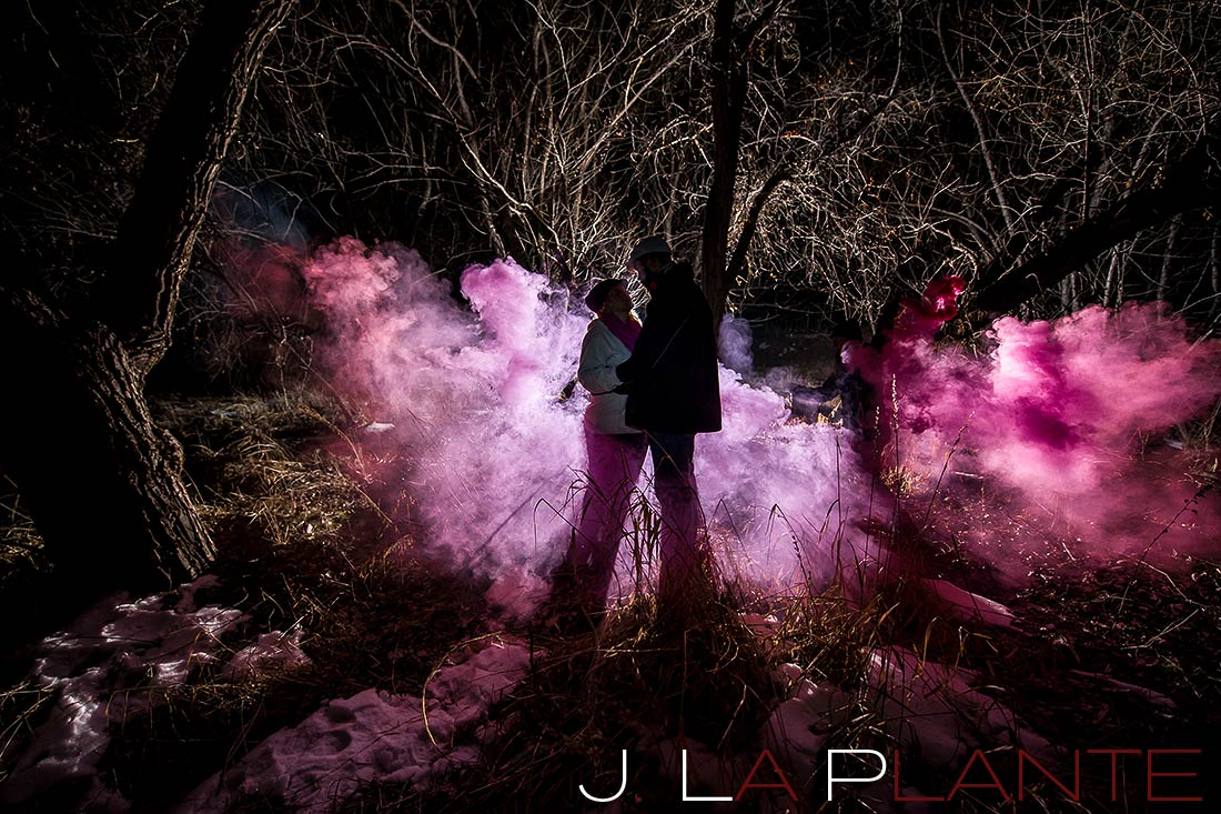 Smoke bomb engagement photos | Denver wedding photographers | J. La Plante Photo