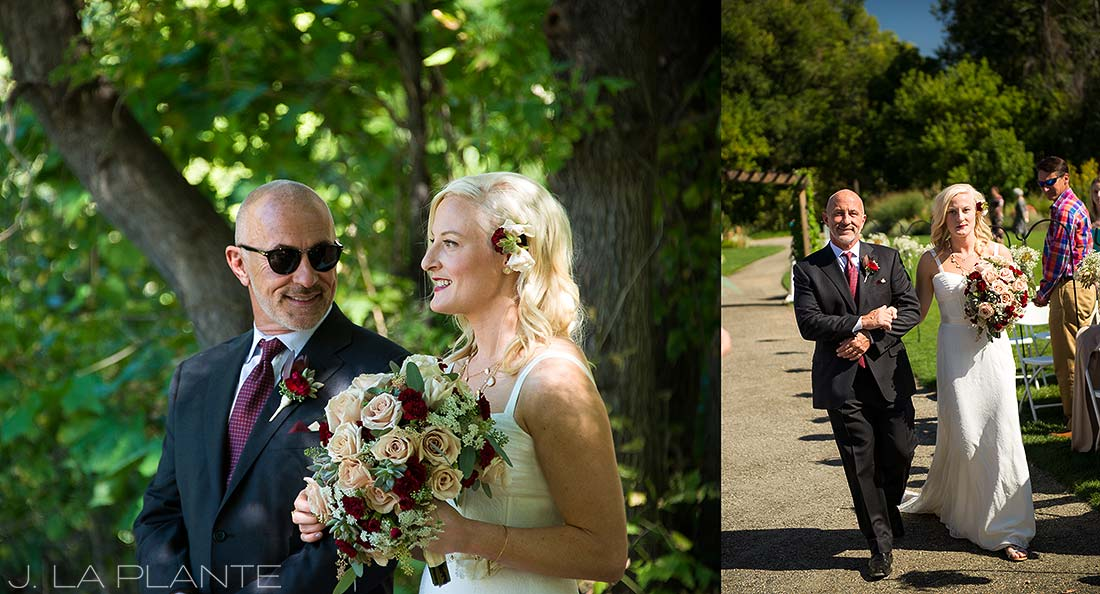 J. LaPlante Photo | Denver Wedding Photographer | Chatfield Botanic Gardens Wedding | Father Walking Bride Down Aisle