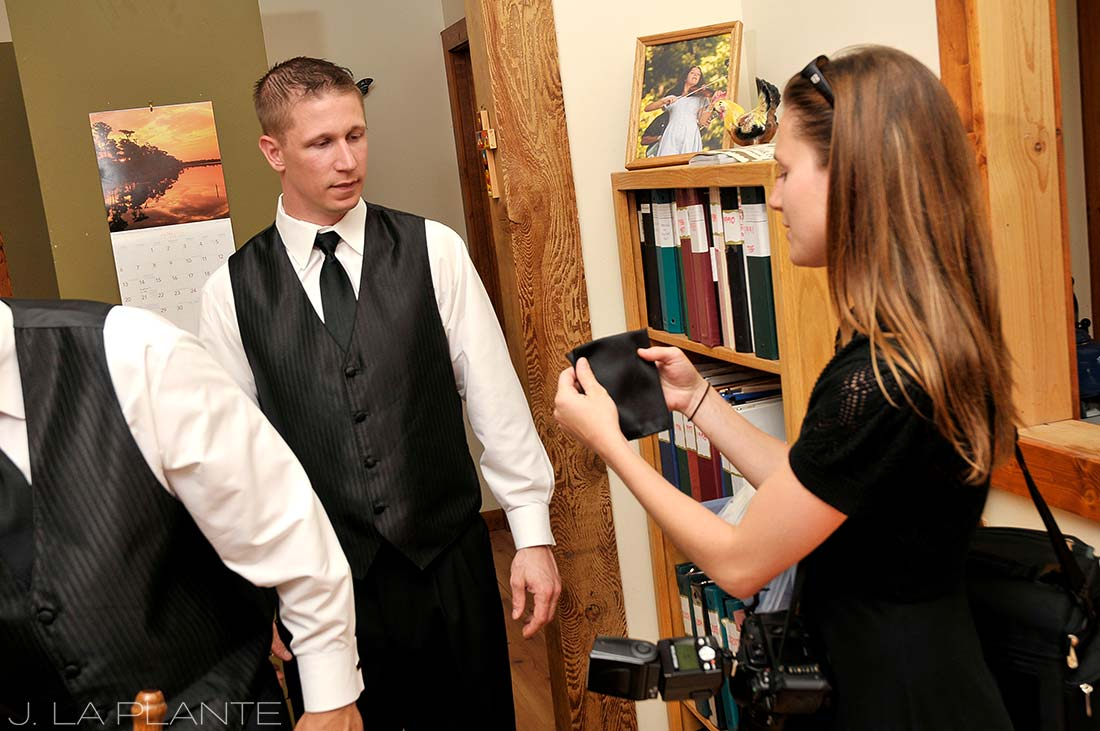 J. LaPlante Photo | Lyons Wedding Photographer | Planet Bluegrass Wedding | Groom Getting Ready