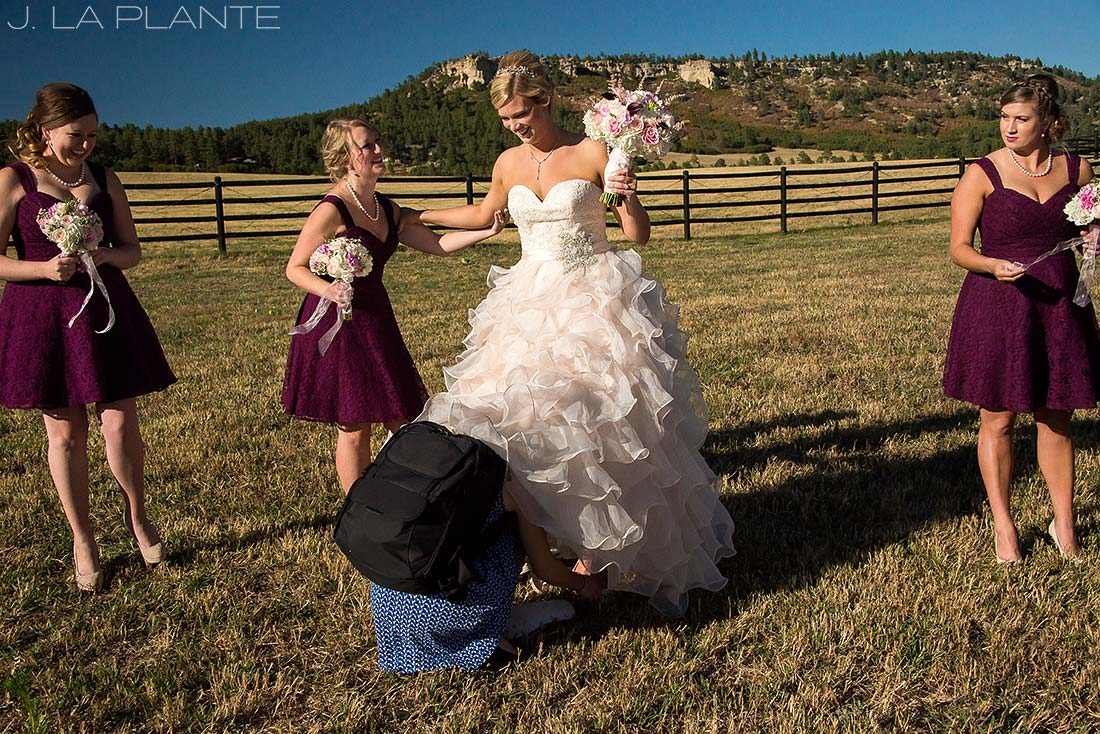 J. LaPlante Photo | Colorado Wedding Photographer | Spruce Mountain Ranch Wedding | Bride And Bridesmaids