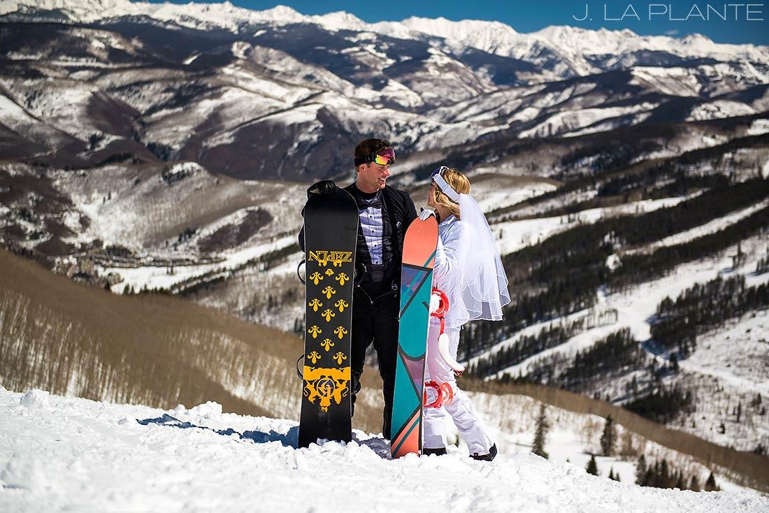 J. LaPlante Photo   Colorado Wedding Photographer   Beaver Creek Wedding   Bride And Groom Snowboards
