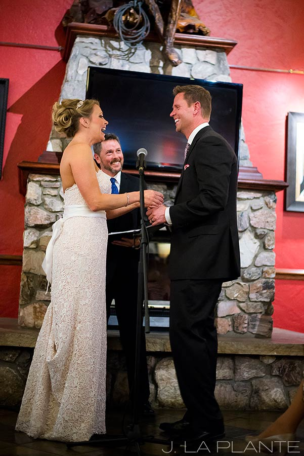 J. LaPlante Photo | Beaver Creek Wedding Photographer | Beaver Creek Lodge Wedding | Bride And Groom Laughing At Ceremony
