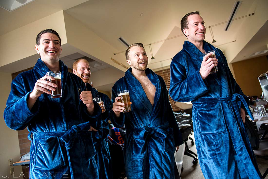 J. La Plante Photo | Denver Wedding Photographer | University of Denver Wedding | Groomsmen Drinking Beer in Bathrobes