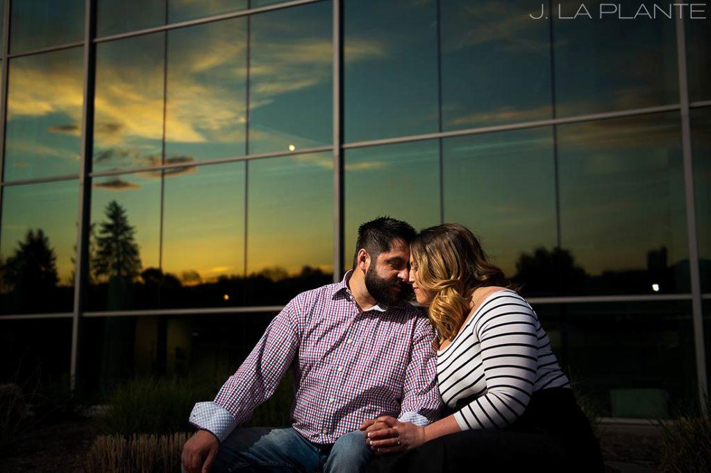 J. La Plante Photo | Denver Wedding Photographer | Denver City Park Engagement | Couple Watching Sunset In City Park