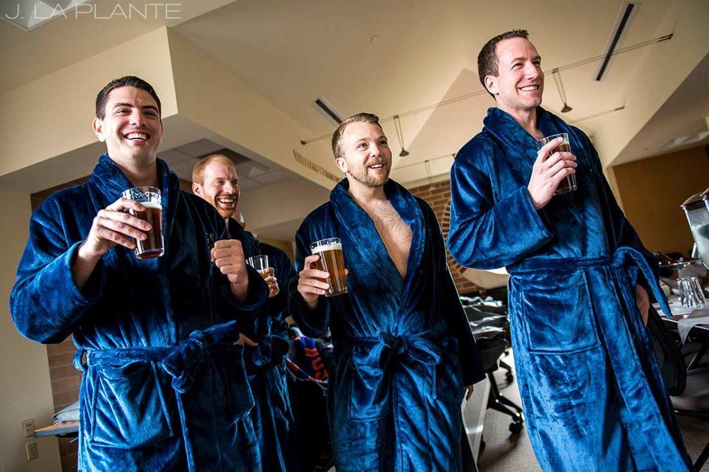 J. La Plante Photo | Denver Wedding Photographer | University of Denver Wedding | Fritz Knoebel Wedding | Groomsmen in Bathrobes
