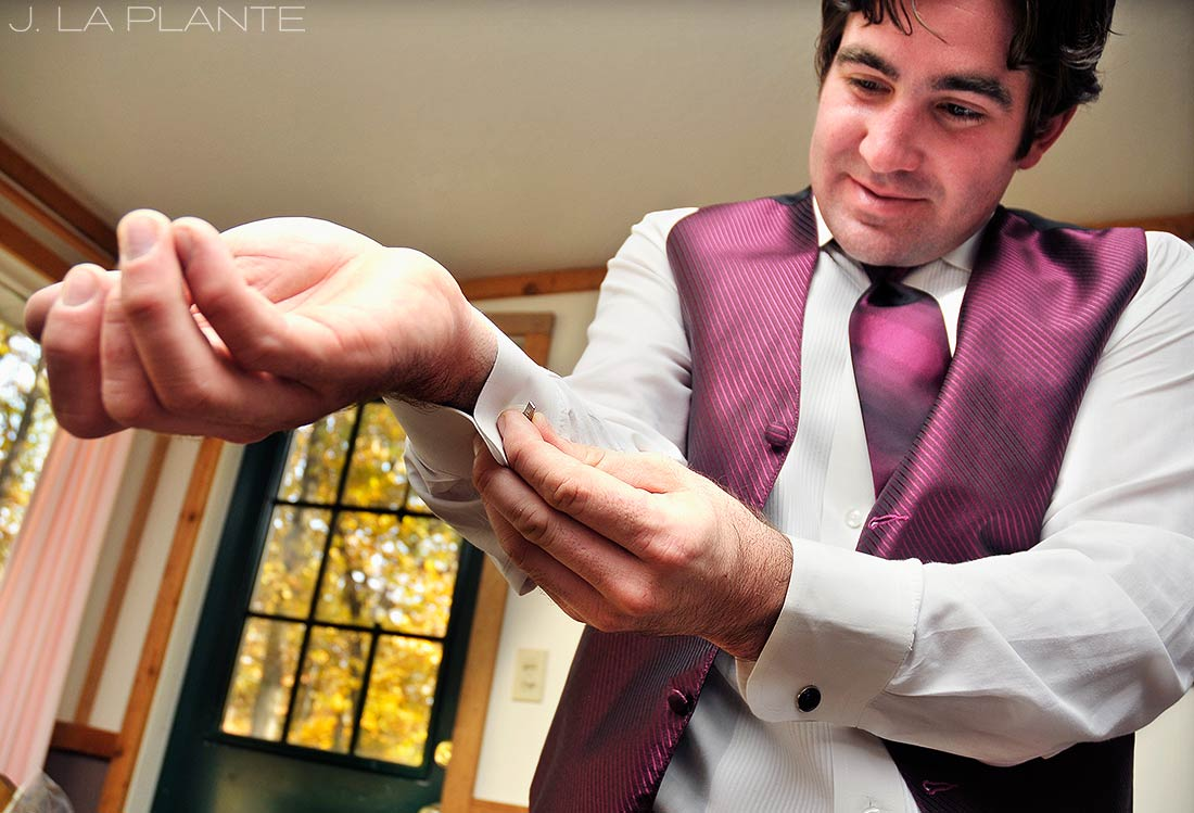 J. La Plante Photo | Irish Hills Wedding Photographer | Whispering Lakes Wedding | Groom Putting on Cufflinks