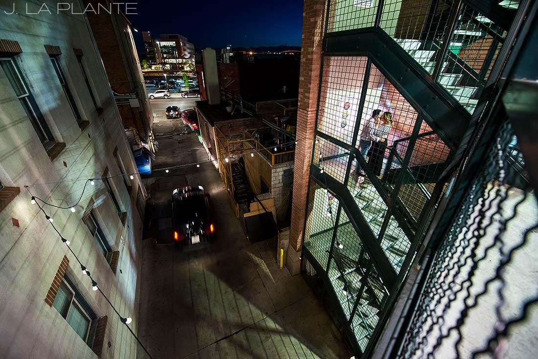 J. La Plante Photo | Denver Wedding Photographer | Larimer Square Engagement | Bride And Groom In Parking Garage