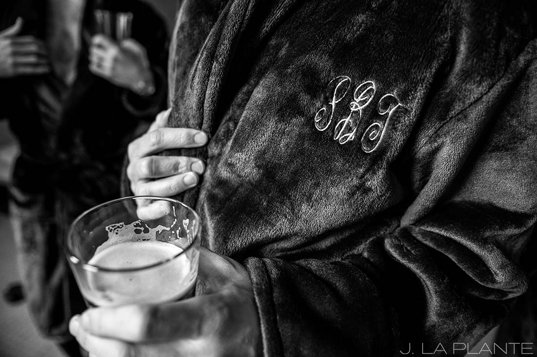 J. La Plante Photo | Denver Wedding Photographer | University of Denver Wedding | Groom Drinking Beer in Bathrobe