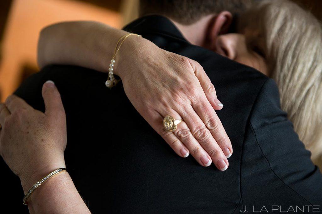 J. La Plante Photo | Denver Wedding Photographer | University of Denver Wedding | Fritz Knoebel Wedding | Mother Hugging Groom