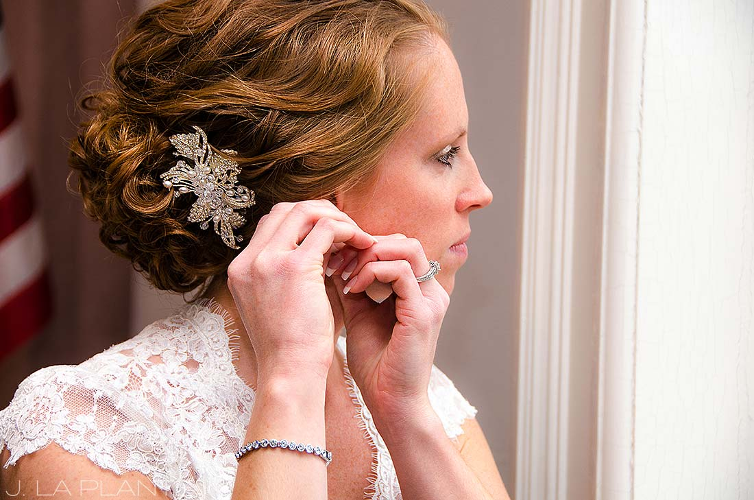 J. La Plante Photo | Adrian Wedding Photographer | Adrian Michigan Wedding | Bride Putting on Earrings