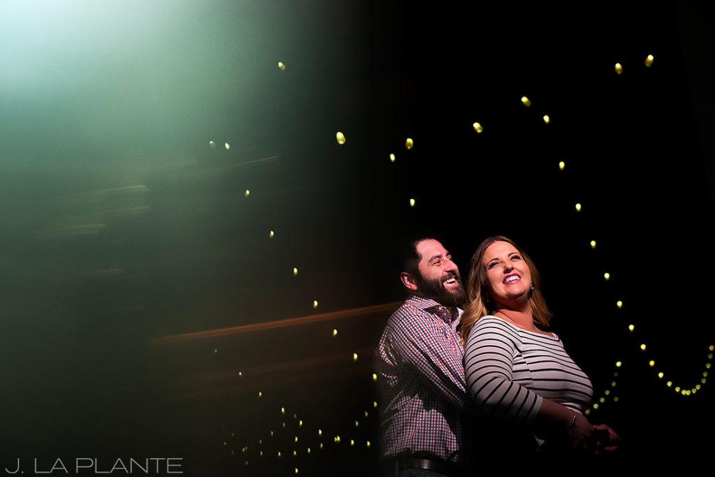 J. La Plante Photo | Denver Wedding Photographer | Larimer Square Engagement | Couple Under Lights Larimer Square