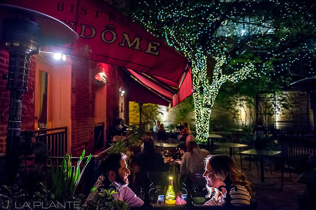 J. La Plante Photo | Denver Wedding Photographer | Larimer Square Engagement | Couple Sharing Wine At Bistro Vendome
