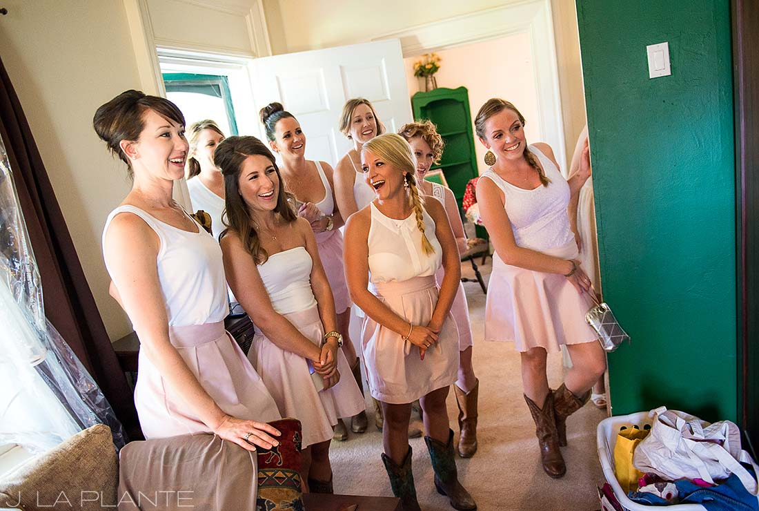 J. La Plante Photo | Colorado Wedding Photographer | Wiens Ranch Wedding | Bridesmaids Watching Bride Get Ready