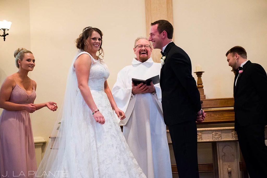 J. La Plante Photo | Denver Wedding Photographer | University of Denver Wedding | Evans Chapel Wedding | Bride and Groom Laughing