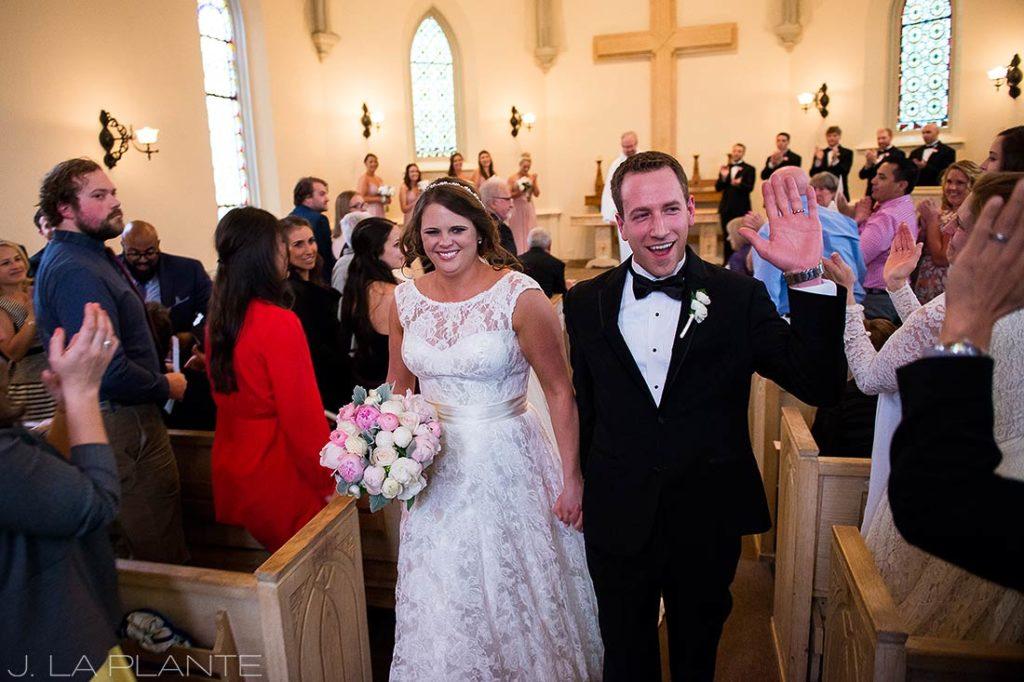J. La Plante Photo | Denver Wedding Photographer | University of Denver Wedding | Evans Chapel Wedding | Bride and Groom Leaving Chapel
