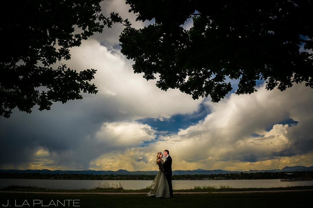 J. La Plante Photo | Denver Wedding Photographer | Sloan's Lake Park Wedding | Bride and Groom by Lake