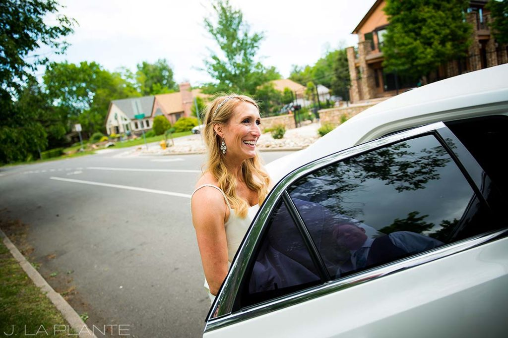 J. La Plante Photo | Denver Wedding Photographer | Sloan's Lake Park Wedding | Bride Getting Into Limo