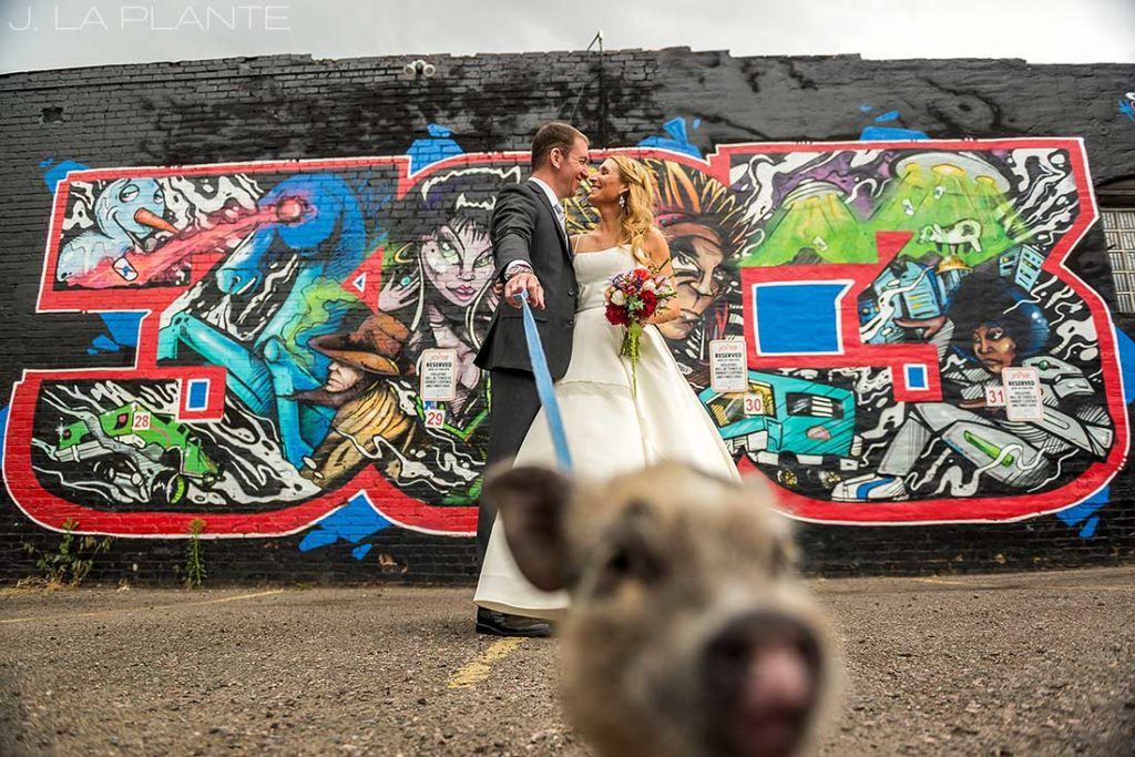 J. La Plante Photo | Denver Wedding Photographer | River North Denver Wedding | Bride and Groom with Pig