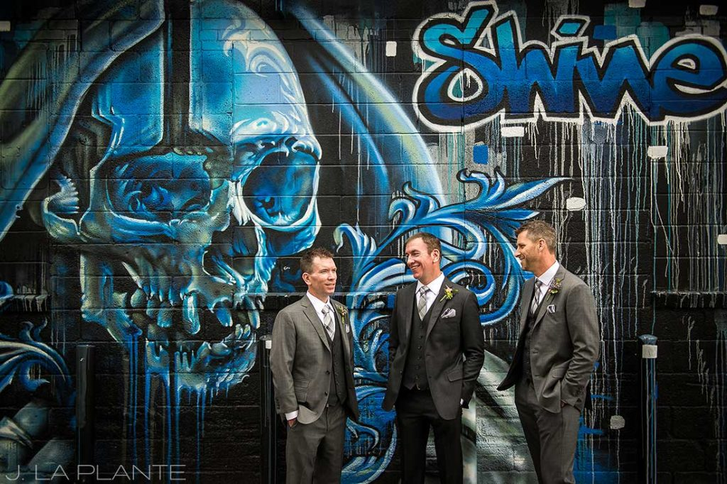 J. La Plante Photo | Denver Wedding Photographer | RiNo District Wedding | Groomsmen Laughing
