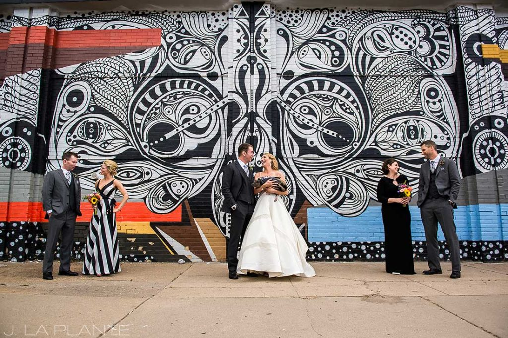J. La Plante Photo | Denver Wedding Photographer | RiNo Denver Wedding | Wedding Party with Graffiti