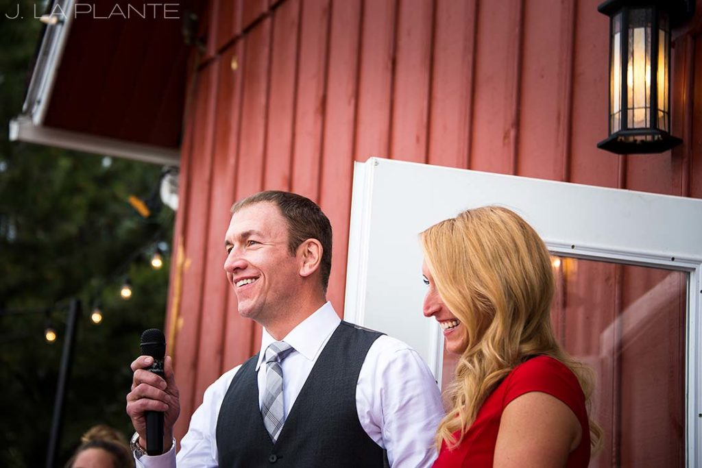 J. La Plante Photo | Denver Wedding Photographer | Chatfield Botanic Gardens Wedding | Groom Giving Speech