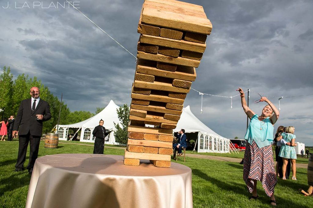J. La Plante Photo | Denver Wedding Photographer | Chatfield Botanic Gardens Wedding | Giant Jenga Falling Over