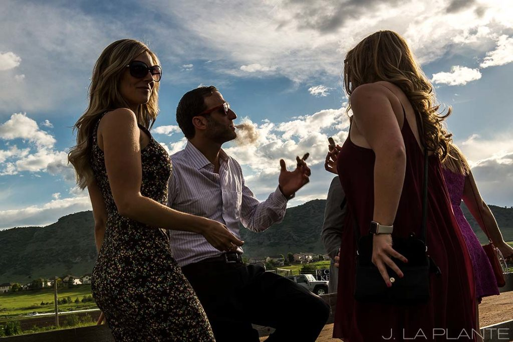 J. La Plante Photo | Denver Wedding Photographer | Chatfield Botanic Gardens Wedding | Wedding Guest Smoking Cigar