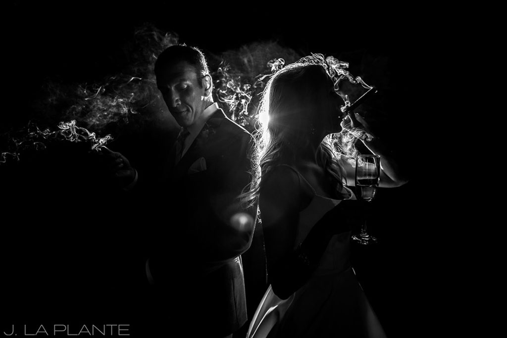 J. La Plante Photo | Denver Wedding Photographer | Chatfield Botanic Gardens Wedding | Bride and Groom Smoking Cigars