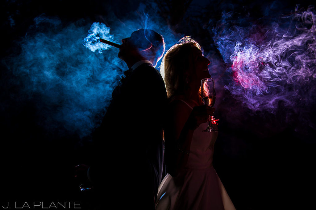 J. La Plante Photo | Denver Wedding Photographer | Chatfield Botanic Gardens Wedding | Bride Smoking a Cigar