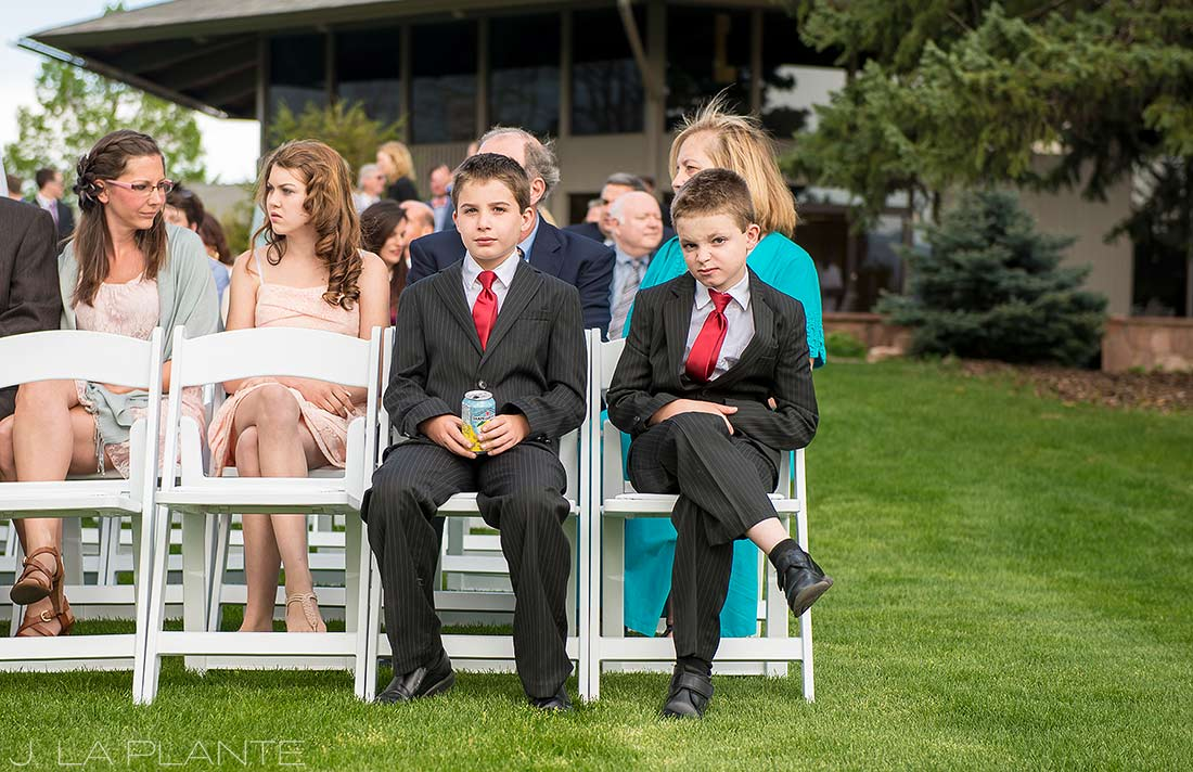 J. La Plante Photo | Boulder Wedding Photographer | Boulder Country Club Wedding | Ring Bearers at Ceremony