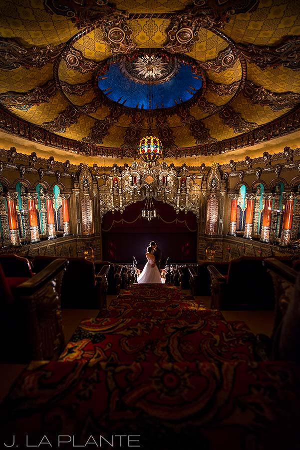 J. LaPlante Photo | Detroit Wedding Photographer | Fox Theatre Wedding | Bride and Groom in Fox Theatre
