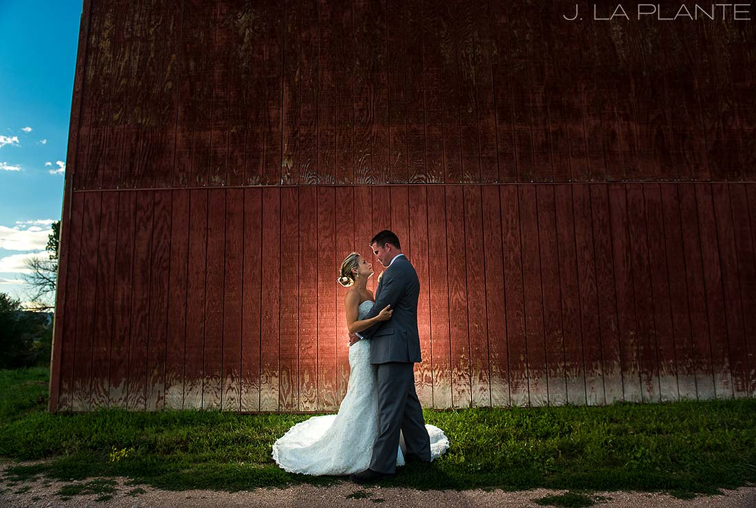J. LaPlante Photo | Colorado Wedding Photographer | Wiens Ranch Wedding | Bride and Groom by Barn