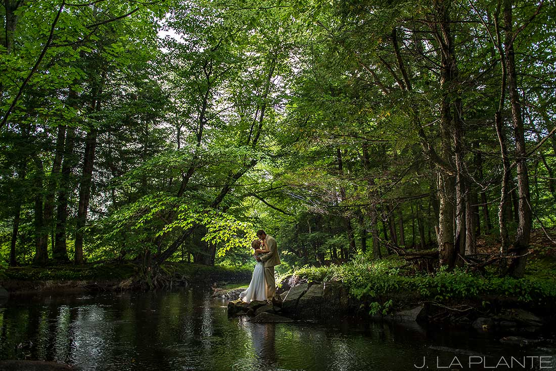J. LaPlante Photo | Ogunquit Wedding Photographer | River Lily Farm Wedding | Bride and Groom in Woods