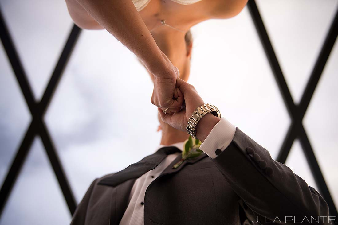 J. LaPlante Photo | Denver Wedding Photographer | Mile High Station Wedding | Bride and Groom on Bridge