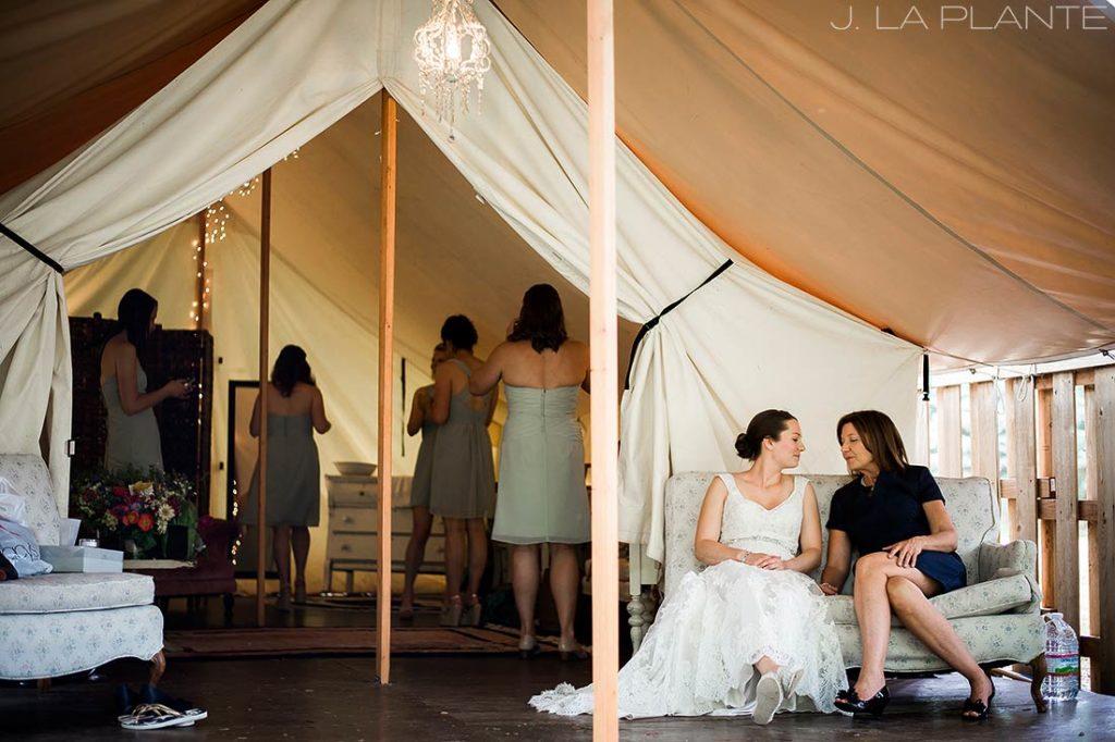 J. LaPlante Photo | Boulder Wedding Photographers | River Bend Wedding | Bride and Mother Moment