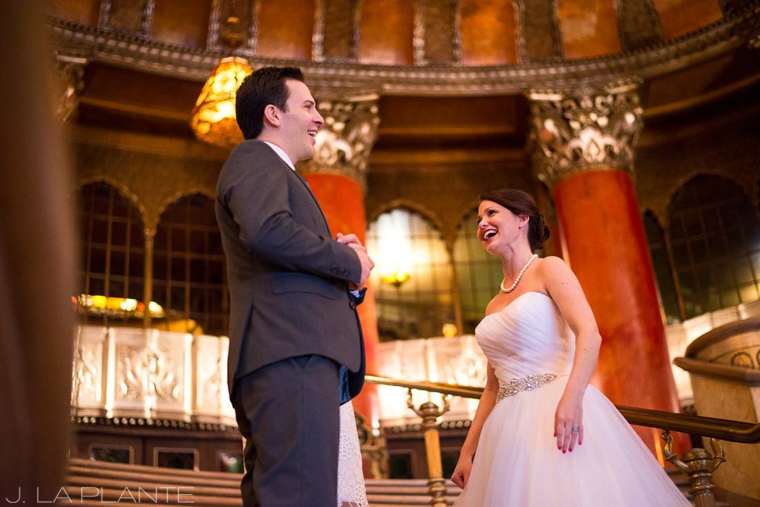 J. La Plante Photo | Detroit Wedding Photographer | Fox Theater Wedding | Bride and Groom Laughing During Ceremony
