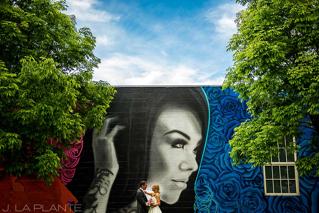 J. LaPlante Photo | Denver Wedding Photographer | River North Art District Wedding | Bride and Groom in Front of Mural