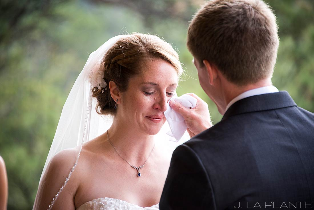 J. La Plante Photo | Estes Park Wedding Photographer | Black Canyon Inn Wedding | Bride Crying During Ceremony