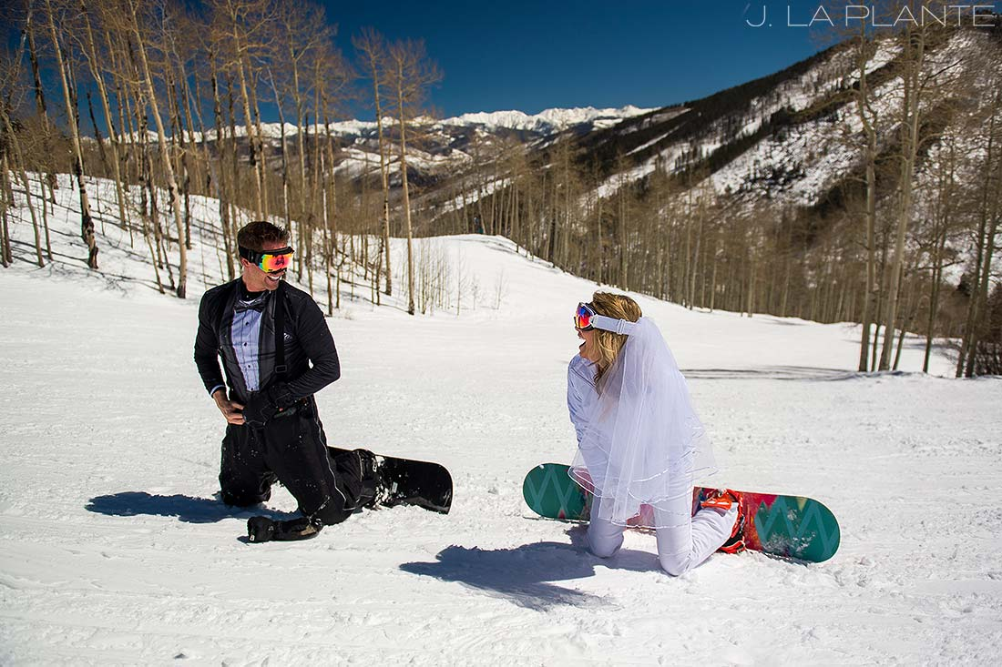 J. LaPlante Photo | Beaver Creek Wedding Photographer | Beaver Creek Mountain Wedding | Bride and Groom Snowboarding
