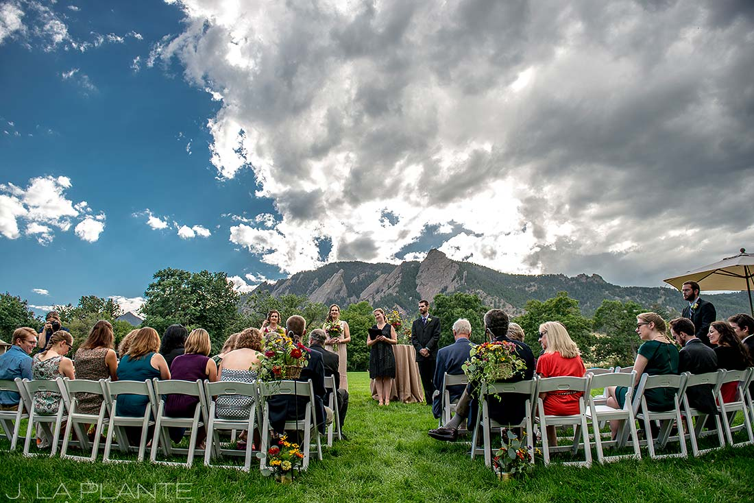 J. La Plante Photo | Boulder Wedding Photographer | Chautauqua Park Wedding | Wedding Ceremony with Flatirons