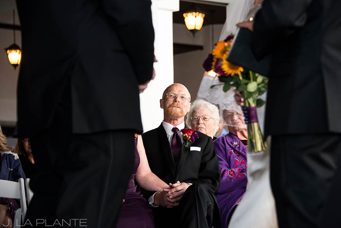 J. La Plante Photo | Denver Wedding Photographer | The Ranch Country Club Wedding | Father of Bride Watching Ceremony