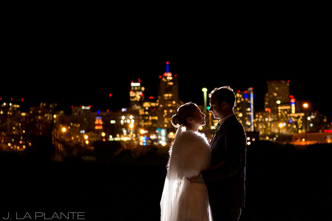 J. LaPlante Photo | Denver Wedding Photographer | Mile High Station Wedding | Bride and Groom in Front of Denver Skyline