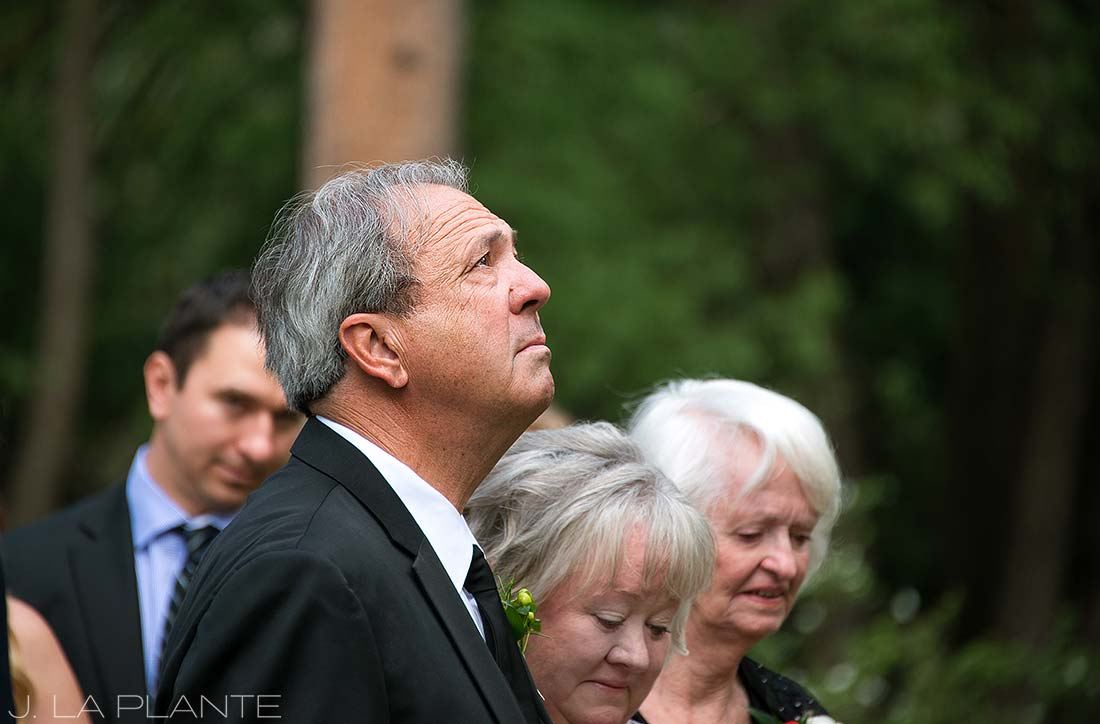 J. La Plante Photo | Evergreen Wedding Photographer | Dunafon Castle Wedding | Father of Bride Watching Ceremony