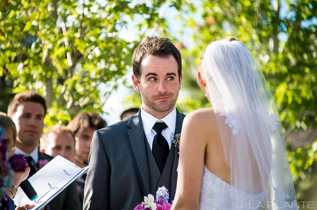 J. La Plante Photo | Boulder Wedding Photographer | Greenbriar Inn Wedding | Groom Making Funny Face During Ceremony