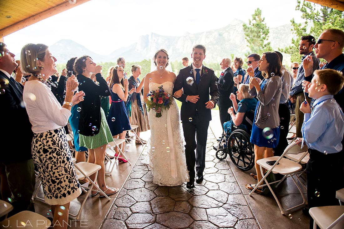 J. La Plante Photo | Estes Park Wedding Photographer | Black Canyon Inn Wedding | Bride and Groom Bubble Send Off