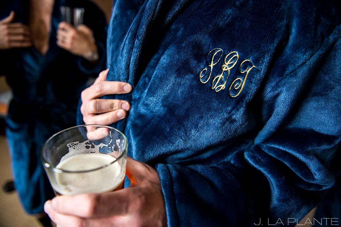 J. La Plante Photo | Denver Wedding Photographer | University of Denver Wedding | Groom and Groomsmen Drinking Beer