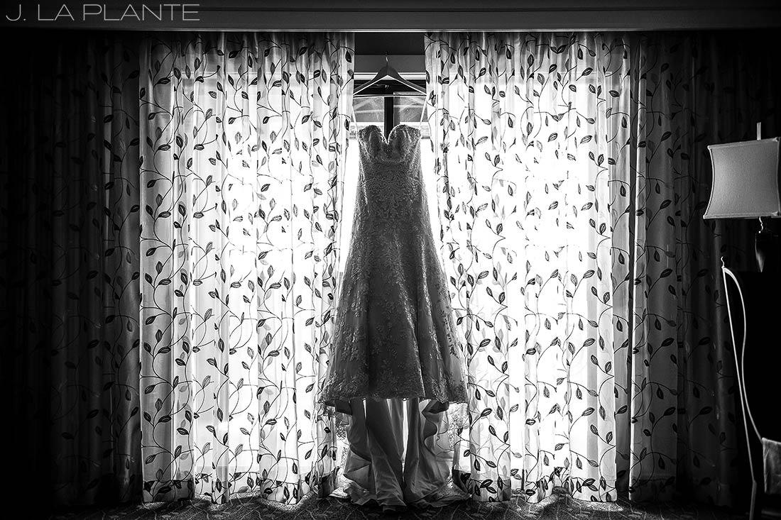 J. LaPlante Photo | Colorado Springs Wedding Photographers | Cheyenne Mountain Resort Wedding | Wedding Dress Black and White Photo